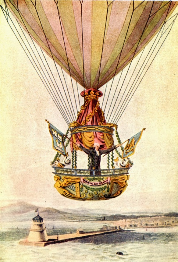 "James Salder's balloon design. He used a iron ""oven"" to heat iron bars and suflic to create ""coal gas""... a form of hydrogen."