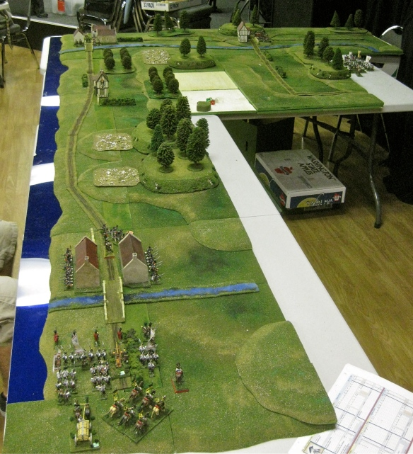 Battle of Voltri 1796 tabletop terrain. Austrian eastern column starts near French defenders at Pegli in foreground.