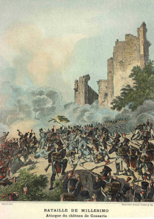 Old post card showing the French and Sardinian-Piedmontesse battle at Cosseria castle ruin. French uniforms are of a later imperial period.