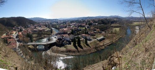 View from the castle above Dego and Bromida bridge at riverbend.