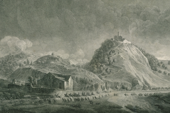 Battle of Dego by Bagetti. Viewed from the western side of the Bromida. Church building atop the hill.