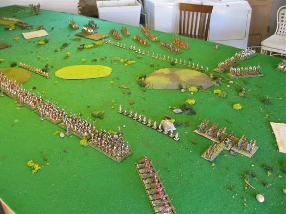 Armies advance, Italian chariots race forward. Some early Ben Hur types?