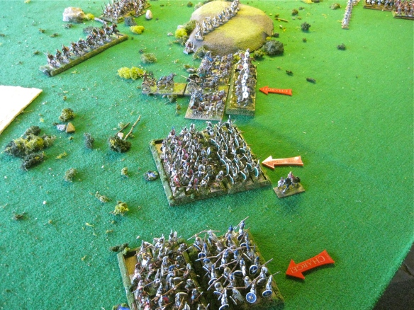 First brawls on Rome's left as chariots and the Samnites crash home