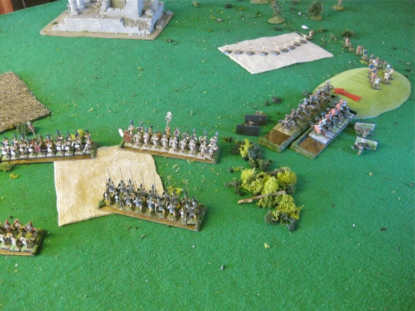 The Etruscan left their heavy Citizen cavalry impact the Roman cavalry as skirmishers dance about.
