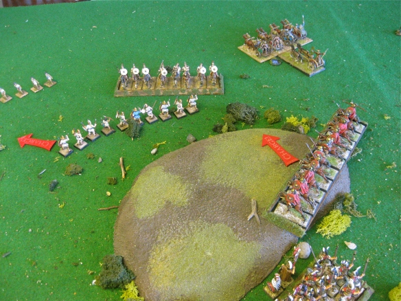 As the chariot sweep into the rear, the right flank Italian Citizen heavy cavalry charge the other Spanish cavalry.