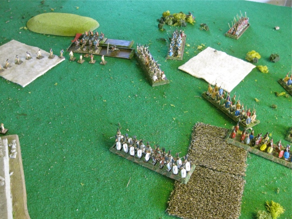 The left flank cavalry brawl goes on.... finally the Romans win as their infantry approach the temple ruins.