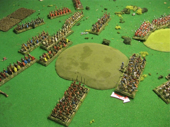 The Romans have turned to face finally. The disordered Etruscan line retires led by Son of Mic (his son).