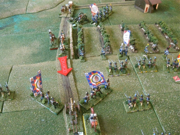 Bold French dragoons call their charge up the roadway. Portuguese oxen drawn cannon and regulars prepare to receive.