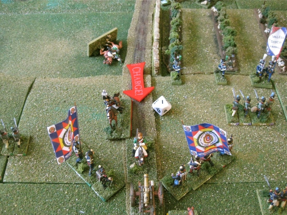 French dragoons charge home, musketry and cannon fire reduce them...but they keep charging lead by General Loison.