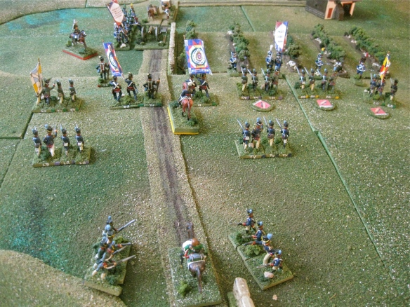 Portuguese viewpoint of the French advance as the French cavalry is chased by the rearward Portuguese Ordenanza.