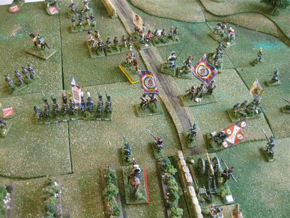 French infantry advance as growing confusion in Portuguese formations. Some pike armed Ordenanza arrive.