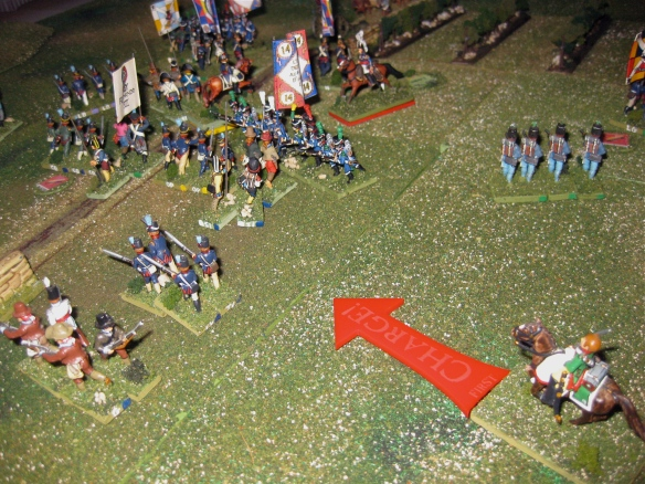As French legere crumple the Portuguese infantry line, the rallied French dragoons charge again and rout the Ordenanza.