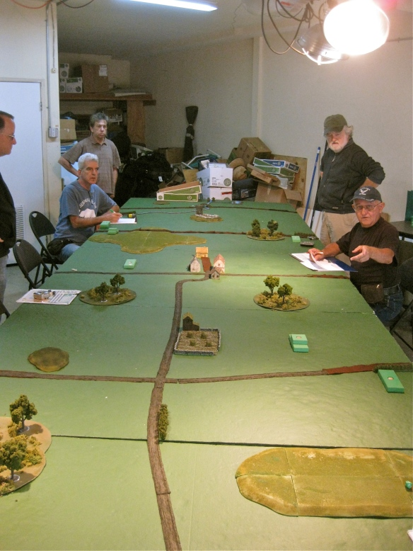 Grand table of 24 by 6 feet. Initial forces marching on using block movement system.