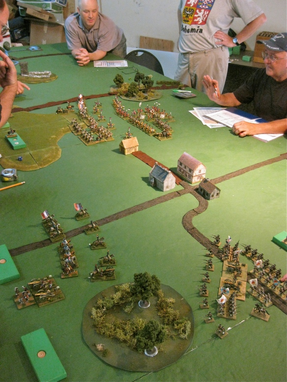 More arrivals. Russian infantry division in foreground, some french on road and the distant cavalry fight.