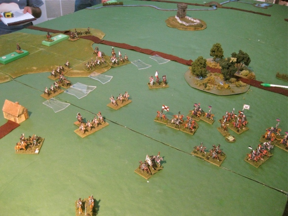 Russian cavalry are mauled by the French Cuirassiers and light cavalry. Not a good start for the Russians.