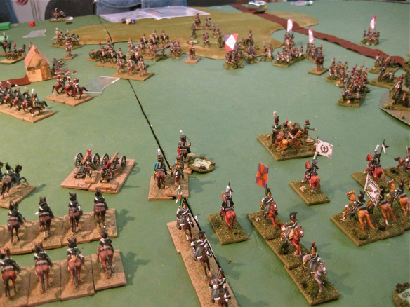 Pulling back, the Russian cavalry regroups after their charge of the French infantry.
