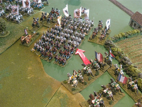The Austrian command tries to form from their march formations as the rapidity approaching French cavalry menaces them. Too late, the charge is sounded...