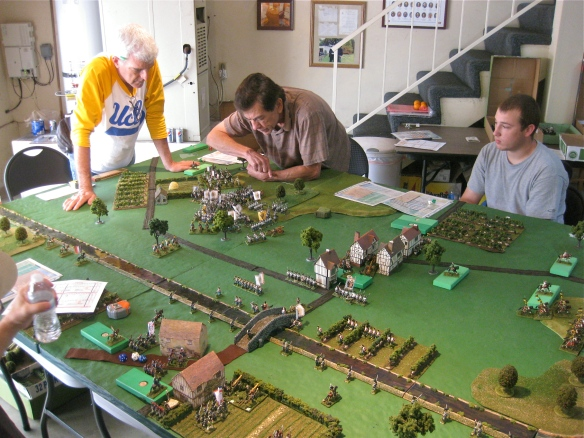 Austrian Cin C (Daniel) looks on and Austrian Andy (center) is faced by the Bob's (left) charging dragoons.