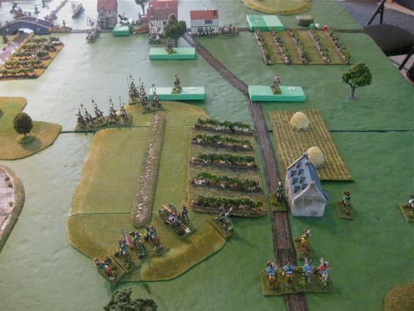 Austrian left flank sees approaching French light cavalry in foreground.