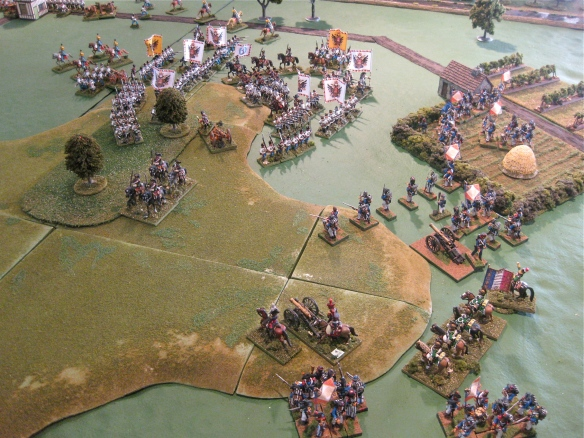 French dragoons retire to reform as their infantry arrive. the Austrians try to form a linear battle line.