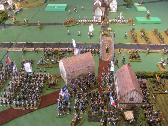 Massed French republican infantry arrive. Time to cross the bridge?