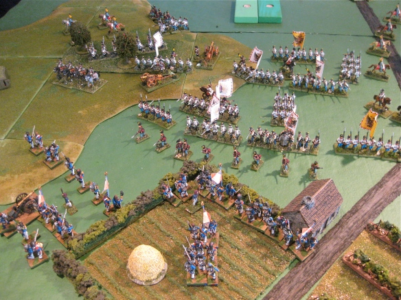 Austrian right flank stabilizes... but it takes two full Austrian infantry commands to hold the French.