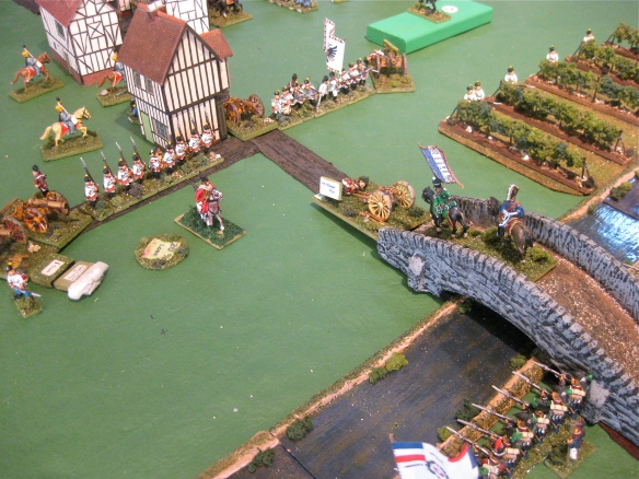 Lets go... French chasseurs a' cheval charge across the bridge and overwhelm the Austrian genzer battery.