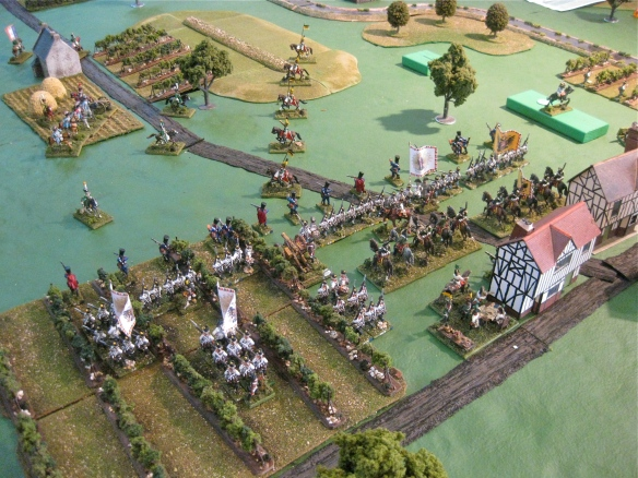 Austrian left flank deploys from their wooden block location as French cavalry looks on.