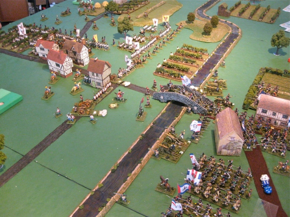View of the French crossing the river as another Austrian command deploys besides the river advance guard.