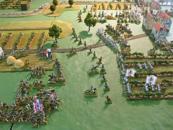 Arriving French infantry on the southern or left flank of the Austrian position.