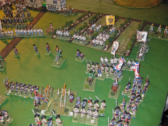 Agressive French infantry push forward. that vineyard will soon be heaped with Austrian and French casualties.