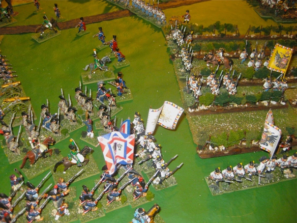 French drums beat the advance as the French infantry attack towards the vineyard.