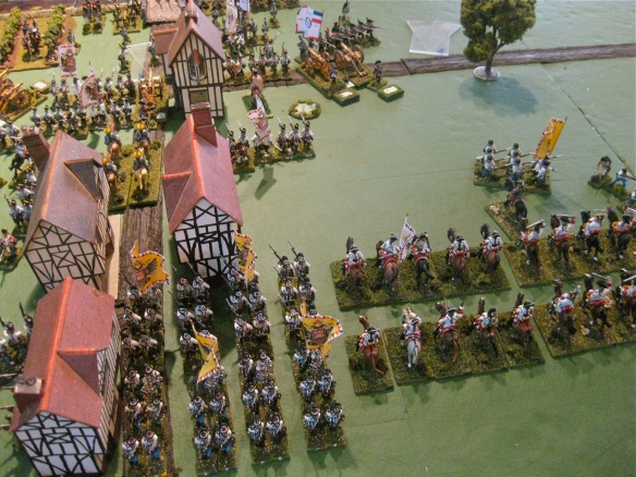 Austrian central reserve deploys for action. Heavy cavalry and massed grenadiers.