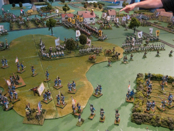 The northern or Austrian right flank hold their ground  against French skirmishing formations.