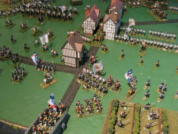 As the Austrian main body of infatry retire the French republican infantry follow... but is that deployed Austrian heavy cavalry ahead?