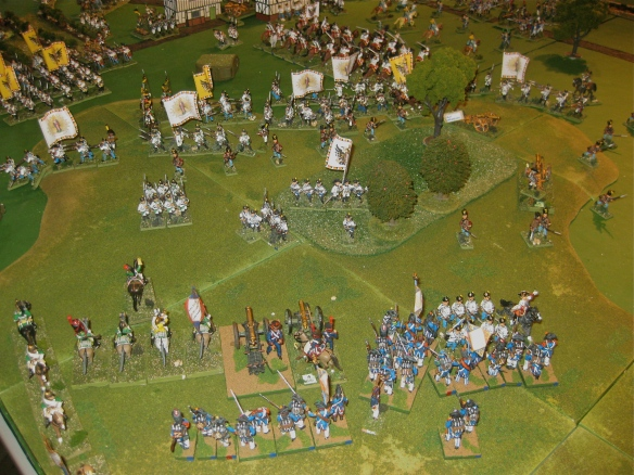 A local Austrian assault is contained as Austrian infantry battalions retire to their table exit point.