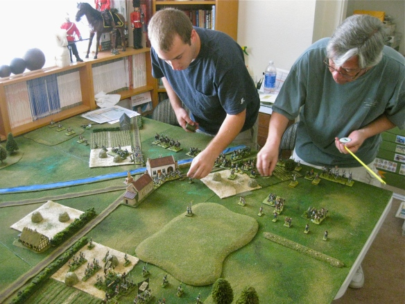 Deploying the armies. Daniel (l) and Rob (r) deploy the French commands at start.