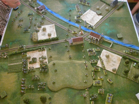 Overhead view of the two armies after the first turn completed. Westphalian on left, French on right side of photo.