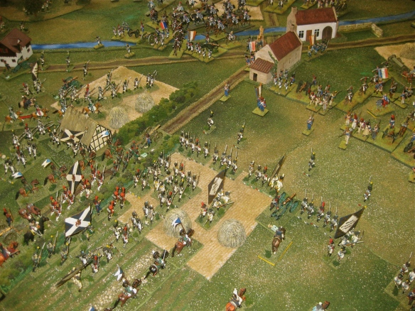While the Westphalian guard and supportive line infantry advance to attack the village, the French cavalry division arrives to strengthen their right flank.