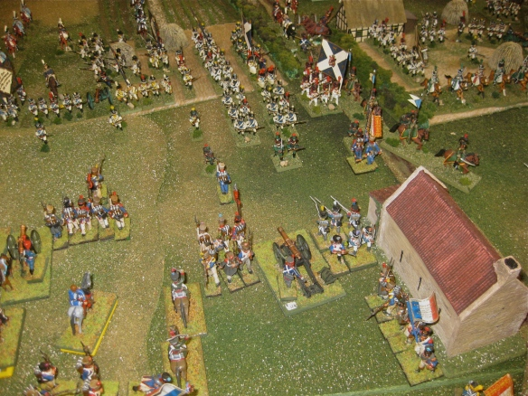 Seeing the Westphalian guard cavalry, French battalions form squares near their artillery batteries.