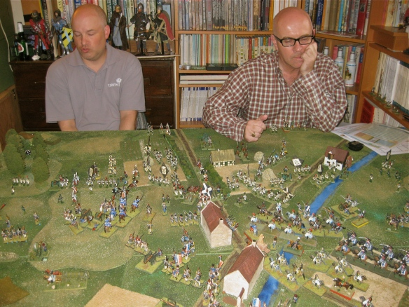 French positioned for the attack, the Westphalian team sees the looming French cavalry charge.