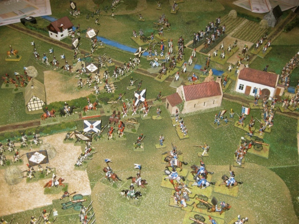 Four French charges are called. The Westphalian guard is under attack by French cavalry.