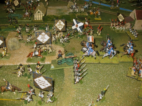 Losing the Westphalian artillery to succssive French charges, the other French hussar regiment charges another Westphalian battery.