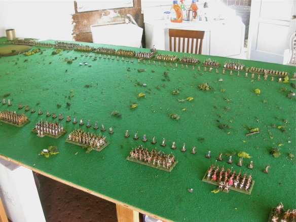 Starting positions for Spartan and Greek army in foreground, Persians in distance.