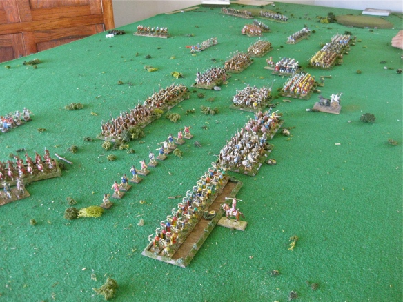 Nearly in contact. Persian archery having minor effect on the Spartan-Greek infantry advance.