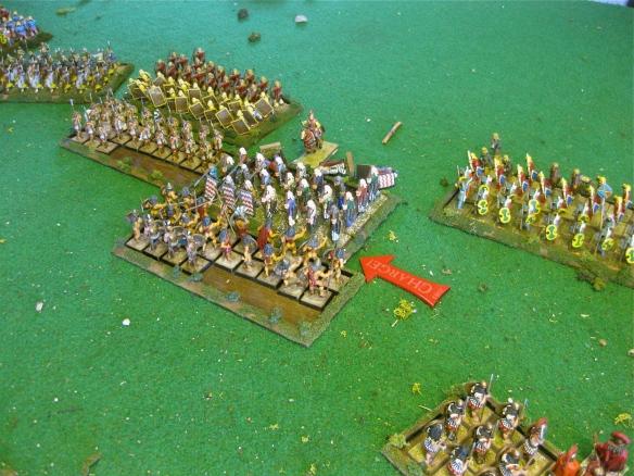 A tough fight. Slowly the Spartan perioikoi hoplites grind forward.