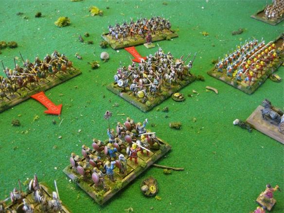 Spartan bodyguard and allied Greek hoplites charge home. The receiving Greek mercenaries will break and flee.