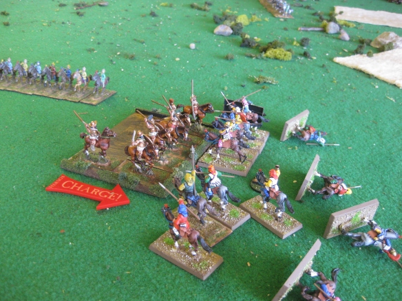 The Greek allied cavalry crush one of the flanking Persian cavalry formations.