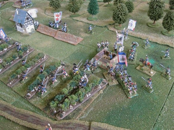GB Salcette's infantry joined by a quickly formed column from GD Meynier assault the leftmost Austrian redoubt.