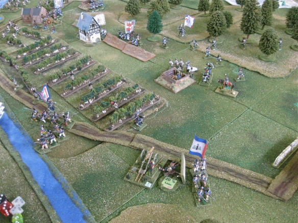 Reluctant French demi-brigade infantry slowly rally as the seriously wounded GD Meynier retires from the battlefield.